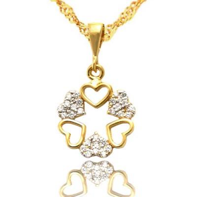 Złoty komplet łańcuszek i oryginalne serca PREZENT