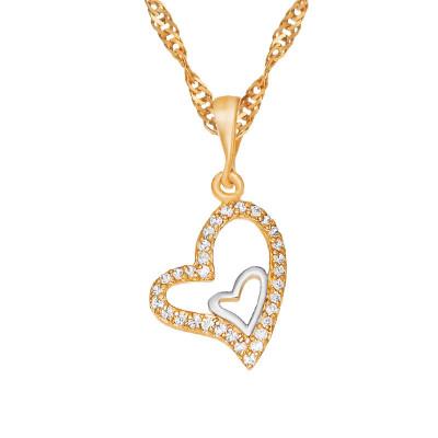 Złoty łańcuszek podwójne serce z cyrkoniami