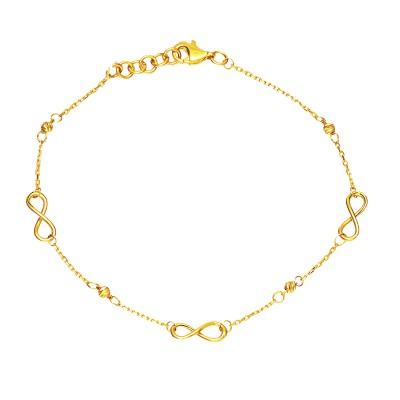 Złota bransoletka ze Znakiem Nieskończoności Grawer GRATIS