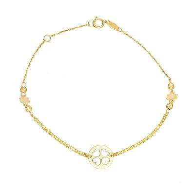 Złota bransoletka z Koniczyną Grawer GRATIS