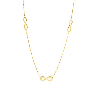 Złoty naszyjnik potrójny Znak Nieskończoności Grawer GRATIS