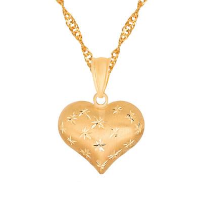 Czarujące złote serce  333 z łańcuszkiem grawer gratis