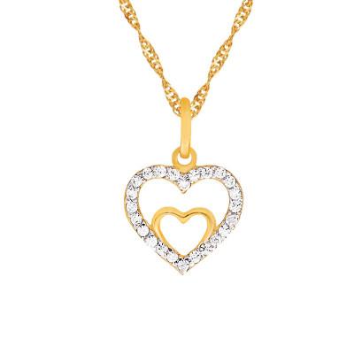 Złoty komplet łańcuszek z olśniewającym sercem 333