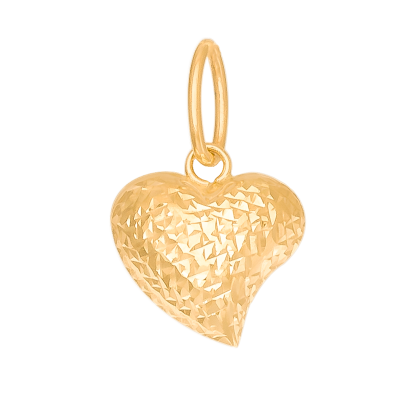 Dwustronna złota zawieszka asymetryczne diamentowane Serce
