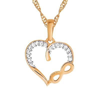 Złoty komplet serce z nieskończonością na subtelnym łańcuszku