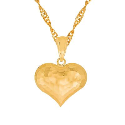 Złoty łańcuszek 585 z efektownym sercem