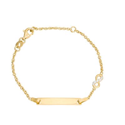 Złota bransoletka dziecięca z blaszką i znakiem nieskończoności