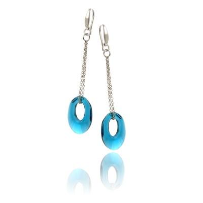 Srebrne kolczyki z niebieskim kryształem Swarovski