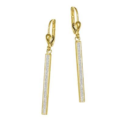 Złote kolczyki z diamentowanym białym złotem Prezent Grawer GRATIS
