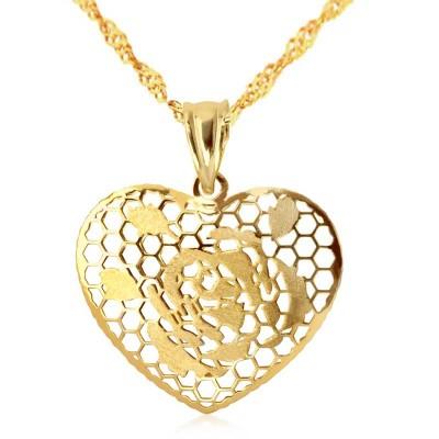 Złoty komplet  łańcuszek z eleganckim ażurowym sercem