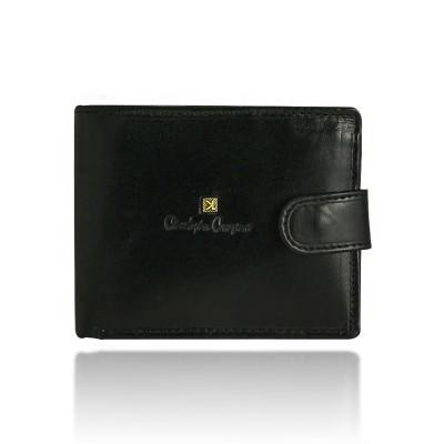 Portfel męski skórzany Christopher Creazioni czarny z wbudowanym zabezpieczeniem kart kredytowych