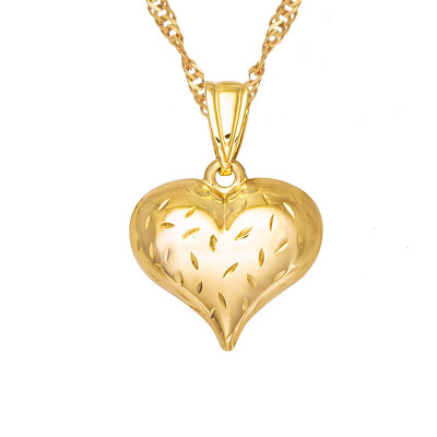 Złoty łańcuszek klasyczne serce z grawerem