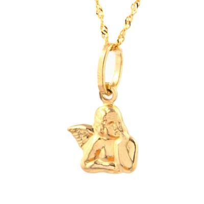 Złota zawieszka aniołek z łańcuszkiem