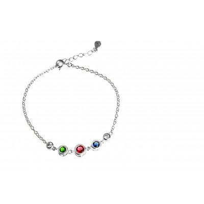 Srebrna bransoletka celebrytka z kolorowymi cyrkoniami