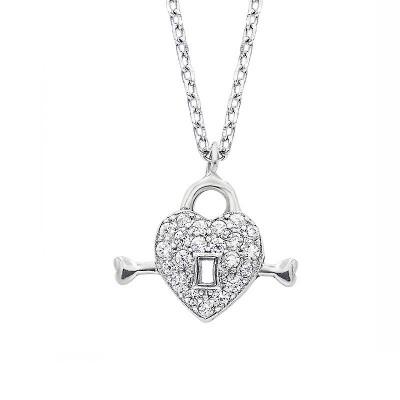 Srebrny naszyjnik serce z kluczykiem