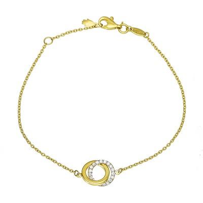 Niezwykle elegancka złota bransoletka z podwójnym kółeczkiem i cyrkoniami Prezent Grawer GRATIS