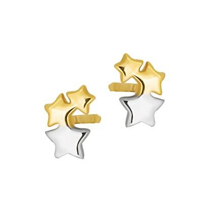 Subtelne złote kolczyki Gwiazdki z białym złotem Grawer GRATIS