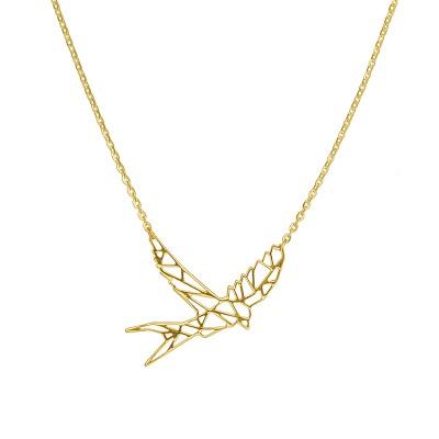 Niesamowicie modny złoty naszyjnik geometryczna Jaskółka Prezent Grawer GRATIS