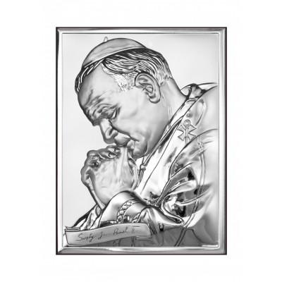 Srebrny obraz Papież Jan Paweł II Prezent Grawer GRATIS
