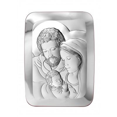 Srebrny obrazek z wizerunkiem Świętej Rodziny Pudełko i Grawer Gratis