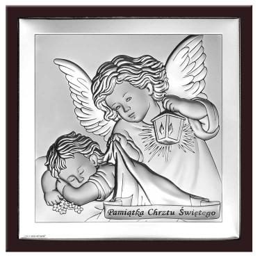 Obrazek srebrny Anioł Stróż  z napisem Pamiątka Chrztu Świętego - niezapomniana pamiątka