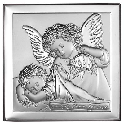 Obrazek srebrny na Chrzest uroczy Aniołek Stróż Grawer GRATIS