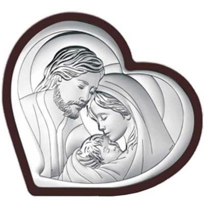 Piękny srebrny obraz z wizerunkiem Świętej Rodziny  w sercu z brązowego drewna