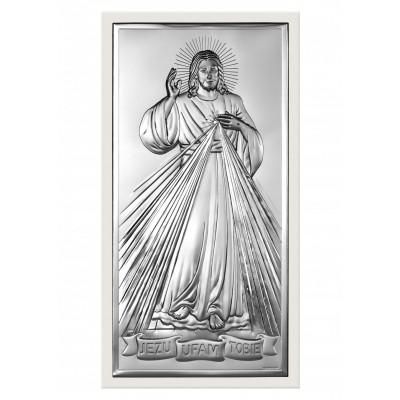 Srebrny obrazek Jezus z napisem Jezu ufam Tobie Prezent Grawer GRATIS
