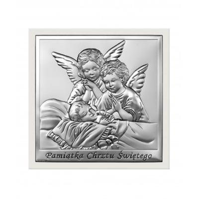 Srebrny obrazek w białej ramce Aniołek Chrzest Święty Prezent Grawer GRATIS