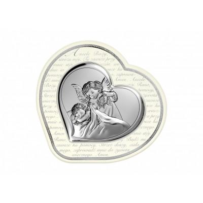 Srebrny obrazek Anioł Stróż Pamiątka Chrztu serduszko w białej ramce z modlitwą