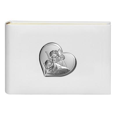 Album na zdjęcia srebrny obrazek Anioł Stróż Pamiątka Chrztu Chrzest