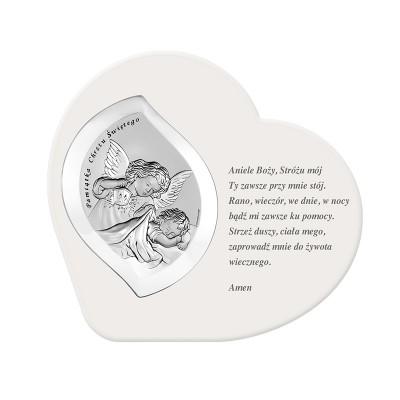 Niezwykły srebrny obrazek z wierszykiem Pamiątka Chrzest Święty Grawer GRATIS