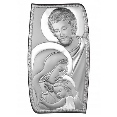 Niezwykły srebrny obrazek sakralny Święta Rodzina Prezent Grawer GRATIS