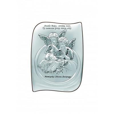 Srebrny obrazek Anioł Stróż Dziecko Pamiątka Chrztu Chrzest