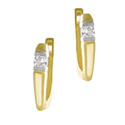 Eleganckie złote kolczyki ozdobione lśniącą cyrkonią Prezent Grawer GRATIS