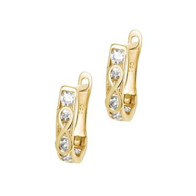 Złote klasyczne kolczyki ze znakiem nieskończoności Prezent Grawer GRATIS