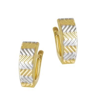 Wyszukane złote kolczyki z dodatkiem białego złota Prezent Grawer GRATIS