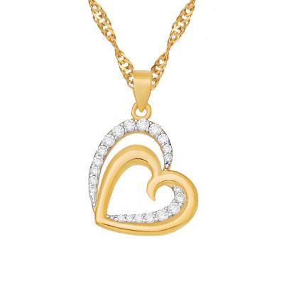 Złoty łańcuszek podwójne serce z cyrkoniami prezent