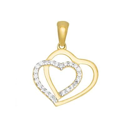 Złota zawieszka podwójne Serduszko z lśniącymi kryształkami Prezent Grawer GRATIS