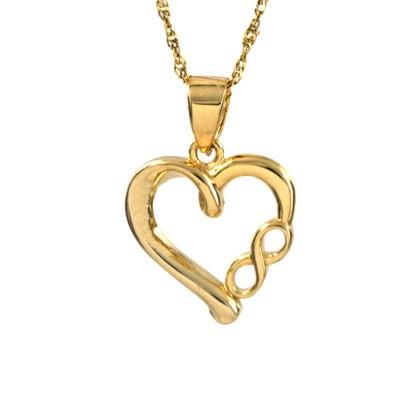 Modna zawieszka w kształcie serca ze znakiem nieskończoności i łańcuszkiem