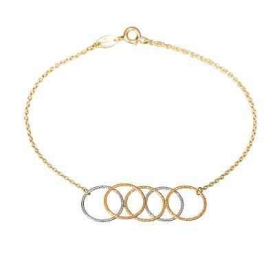 Złota bransoletka z oryginalną zawieszką z trzech kolorów złota Prezent Grawer GRATIS