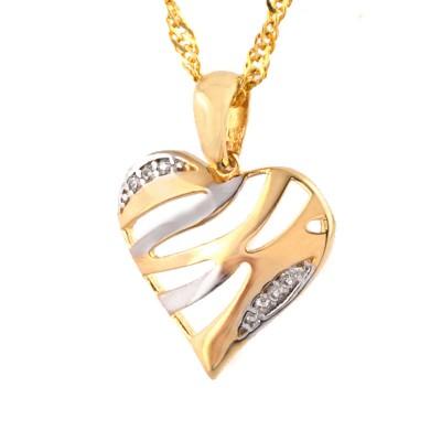 Śliczny złoty komplet serduszko z łańcuszkiem