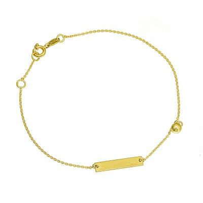 Subtelna złota bransoletka z blaszką i kulką Prezent Grawer GRATIS