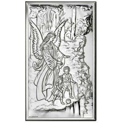 Piękny obrazek srebrny Anioł Stróż nad urwiskiem pamiątka chrztu