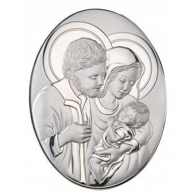 Masywny srebrny obraz sakralny Święta Rodzina Owal Prezent Grawer GRATIS