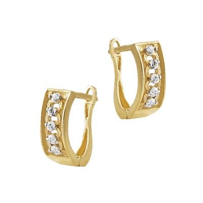 Subtelne złote kolczyki z cyrkoniami Prezent Grawer GRATIS