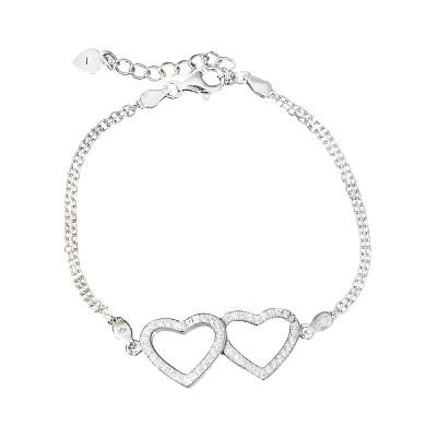 Srebrna bransoletka  celebrytka połączone serca