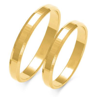 Obraczki ślubne złote, płaskie z fazą, 3,00 mm
