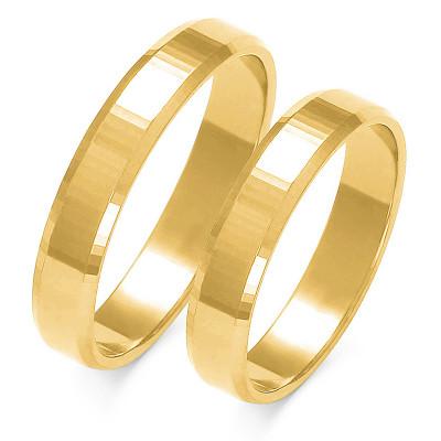Obraczki ślubne złote, płaskie z fazą, 4,00 mm