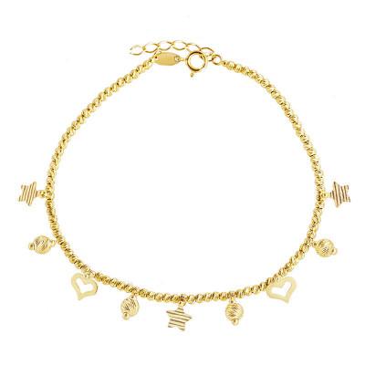 Diamentowana złota bransoletka z romantycznymi zawieszkami